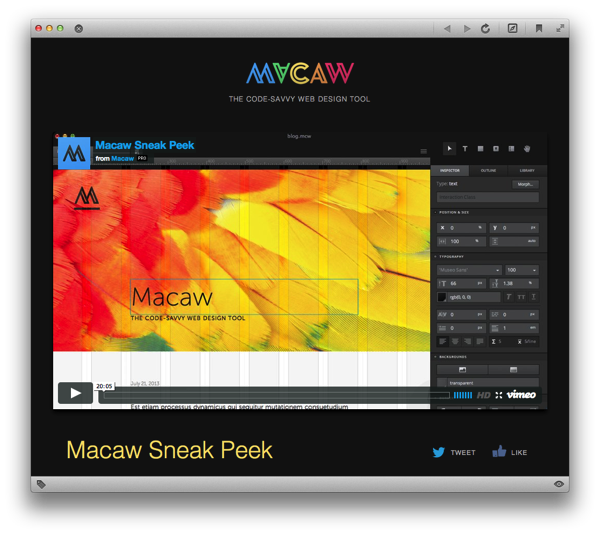Sneak Peek: Macaw — the code-savvy web design tool | TOBYSTEREO